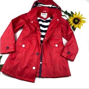 Hatley Red Stripe Terry Lined Rain Coat Girls